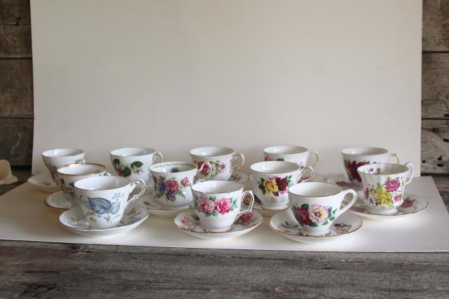 flowery vintage English bone china tea cups, set 12 mismatched cup & saucer sets