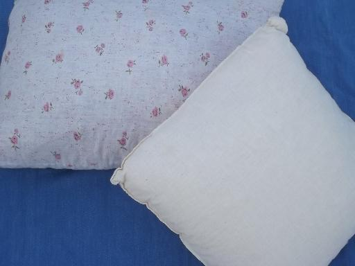 foam filled pillows - natural muslin pillow form, vintage roses cushion