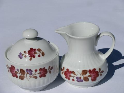 folk art painted flowers pattern, vintage Winterling - Bavaria china, coffee pot set