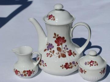folk art painted flowers pattern, vintage Winterling - Bavaria china, coffee pot set