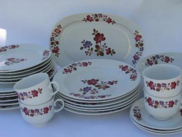 folk art painted flowers pattern, vintage Winterling - Bavaria china plates & bowls