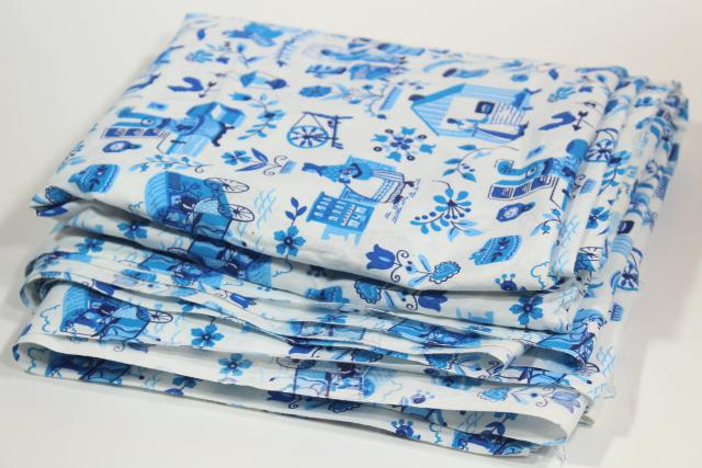 folk art village print blue & white vintage toile cotton fabric, country style