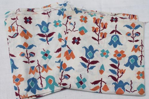 folk style flowers print cotton feed sacks, authentic vintage fabric for quilting etc.