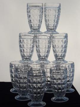 footed jelly glasses, vintage quilted diamond pattern glass jelly jars