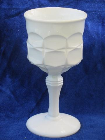 footed jelly servers, tall goblet vases, vintage constellation pattern milk white glass