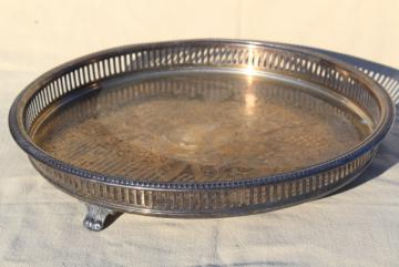 footed tray w/ round gallery rim, vintage silver plate tray for table or vanity