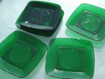 forest green Anchor Hocking Charm glass dinner and luncheon plates lot