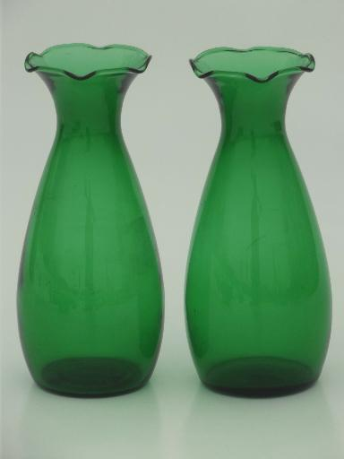 Forest Green Anchor Hocking Glass 1950s Vintage Bowl Set Of Vases