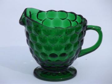 forest green bubble pattern glass cream pitcher, vintage Anchor Hocking