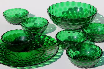 forest green bubble pattern glass plate & bowls, vintage Anchor Hocking
