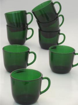 forest green glass cups for punch set or teacups, vintage French glass?