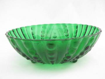 forest green glass serving bowl, Berwick bubble? vintage Hocking
