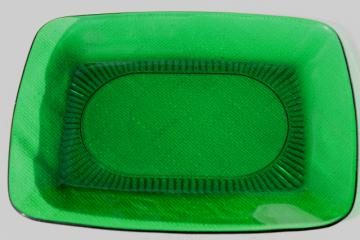 forest green glass vintage Charm pattern Anchor Hocking oblong platter / serving tray
