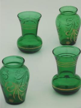 forest green glass violet vases,  1950s vintage Anchor Hocking glassware