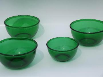 forest green kitchen glass mixing bowls, 50s vintage Anchor Hocking lot