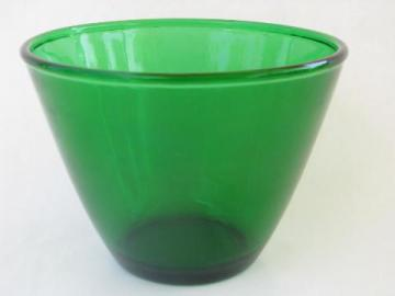 forest green kitchen glass splash proof mixing bowl, vintage Anchor Hocking