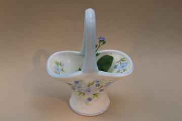 forget me not flowers Crown bone china miniature basket, vintage Staffordshire