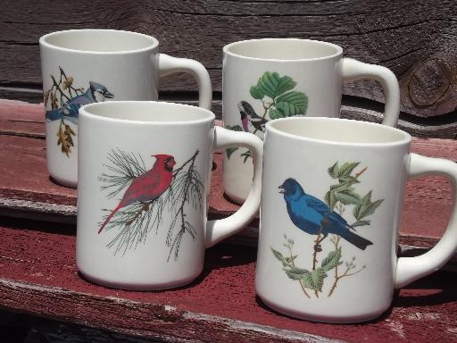 four bird print coffee cups, vintage USA pottery mugs for a birder