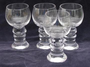 four hand-blown crystal water glasses, country French or Italian style