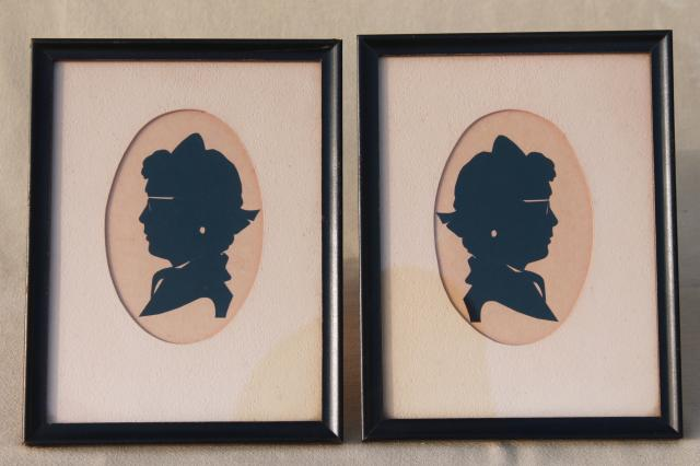 framed pair vintage papercuts silhouettes, 1930s or 40s girl in glasses