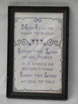 framed vintage cross-stitch embroidered sampler, Child's Prayer