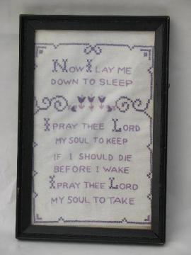 framed vintage cross-stitch embroidered sampler, Child's Prayer