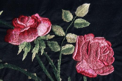 Framed vintage embroidery silk satin stitch embroidered