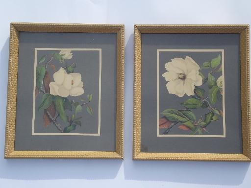 framed vintage floral litho prints 40s turner print style in old frames