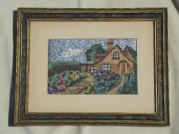 framed vintage needlework picture, cottage scene embroidery in silk thread?