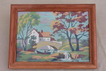 framed vintage paint by number picture, old mill pond scene with rowboat