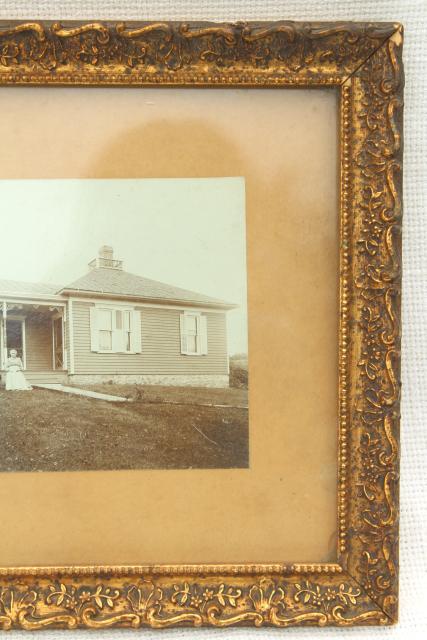 framed vintage photo early Illinois farmhouse settlers couple in ...