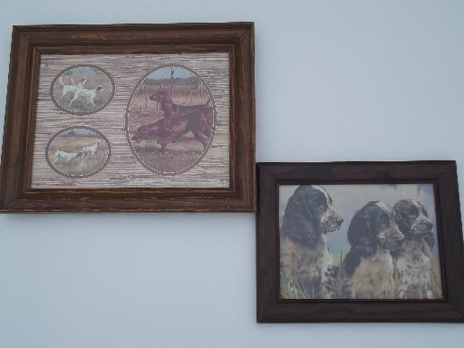 framed vintage prints of bird hunting gun dogs for lodge or cabin