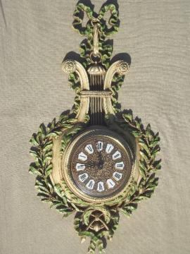 french 'antique' gold baroque Burwood wall clock w/ laurel, from Paris Wisconsin!