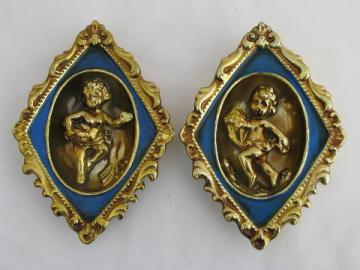 french blue & gold china cherubs wall plaques, vintage hollywood regency