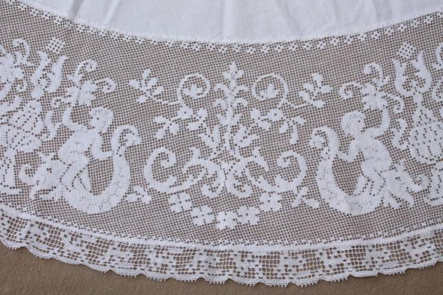 french chic round table cover cloth, vintage tablecloth w/ wide lace edging cherub angels