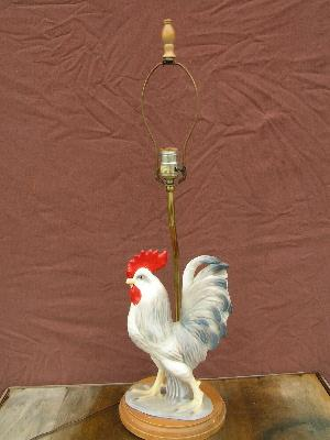 french country big vintage ceramic rooster kitchen lamp
