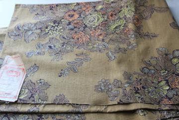 french country floral bronze / dark mustard gold, vintage cotton fabric sample w/ old Seneca label