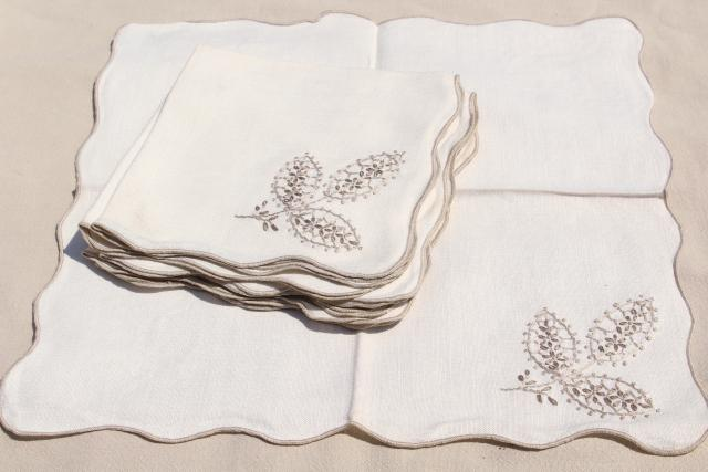 French Country Style Embroidered Pure Linen Napkins, Unused Vintage Table  Linens