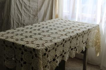 french country style vintage cotton lace tablecloth, handmade crochet lace