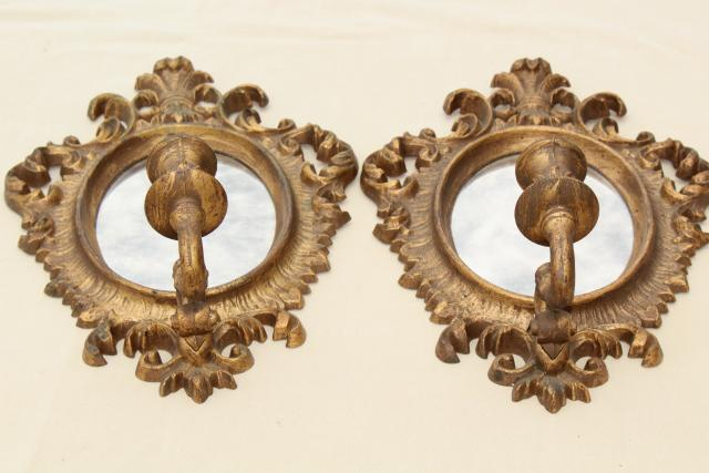 french country style vintage gold rococo mirror frame candle sconces pair