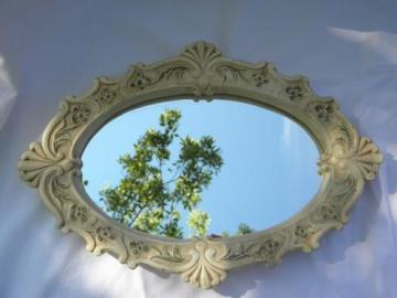 french country vintage painted plaster chalkware frame boudoir mirror