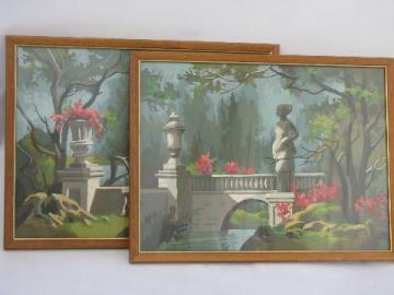 french garden ruins, flowers and statuary - vintage paint by number pictures