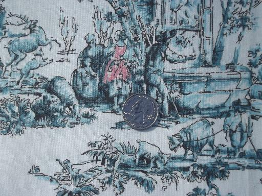 French Toile Print Vintage Decorator Fabric, Aqua Blue And