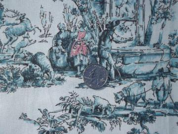 french toile print vintage decorator fabric, aqua blue and pink on white