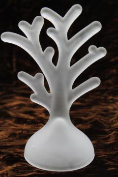 frosted glass branch for jewelry display rack or hanging ornaments, white satin glass tree