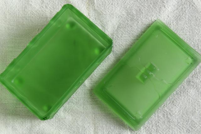 frosted green depression glass treasure chest, vintage pressed glass trinket box