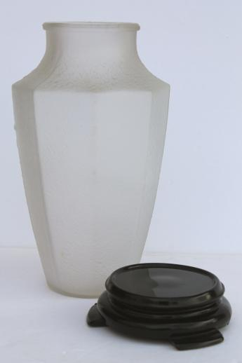 frosted poppies clear satin glass vase w/ ebony black glass stand - vintage Tiffin or Imperial?