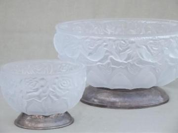 frosted satin glass rose bowls, silver plate footed bowl set vintage Italy