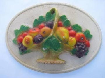 fruit basket, old chalkware kitchen wall plaque, vintage 1930s-40s