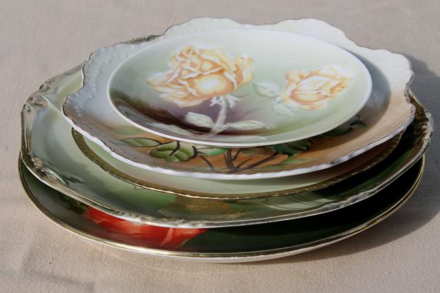fruit & floral hand painted china plates, mismatched antique vintage dishes